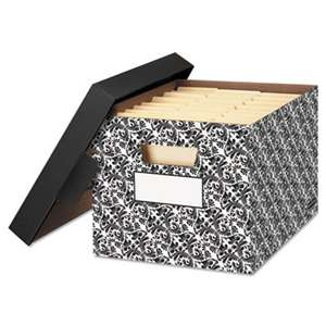 FELLOWES MFG. CO. STOR/FILE Decorative Medium-Duty Storage Boxes, Letter/Lgl, Black/White Brocade