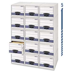 FELLOWES MFG. CO. STOR/DRAWER Steel Plus Storage Box, Letter, White/Blue, 6/Carton