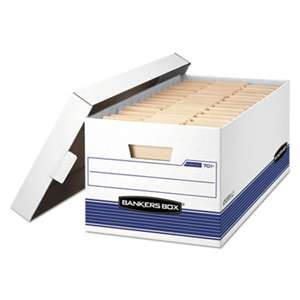 FELLOWES MFG. CO. STOR/FILE Storage Box, Letter, Locking Lid, White/Blue, 4/Carton