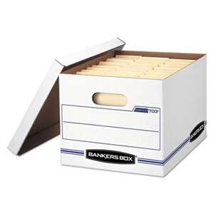 FELLOWES MFG. CO. STOR/FILE Storage Box, Letter/Legal, Lift-off Lid, White/Blue, 12/Carton