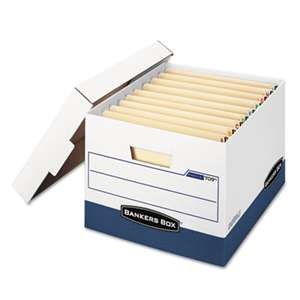 FELLOWES MFG. CO. STOR/FILE Max Lock Storage Box, Letter/Legal, White/Blue, 12/Carton