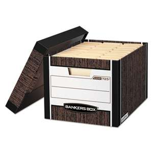 FELLOWES MFG. CO. R-KIVE Max Storage Box, Letter/Legal, Locking Lid, Woodgrain, 12/Carton