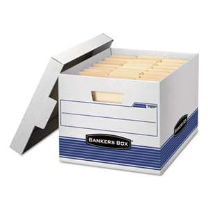 FELLOWES MFG. CO. STOR/FILE Med-Duty Letter/Legal Storage Boxes, Locking Lid, White/Blue, 4/Carton