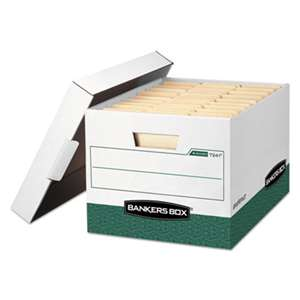 FELLOWES MFG. CO. R-KIVE Max Storage Box, Letter/Legal, Locking Lid, White/Green, 12/Carton