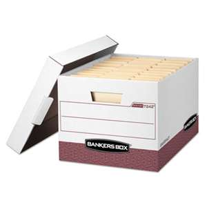FELLOWES MFG. CO. R-KIVE Max Storage Box, Letter/Legal, Locking Lid, White/Red 12/Carton