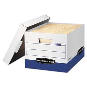 FELLOWES MFG. CO. R-KIVE Max Storage Box, Letter/Legal, Locking Lid, White/Blue, 4/Carton