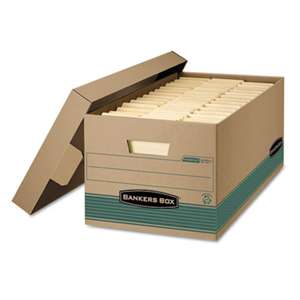 FELLOWES MFG. CO. STOR/FILE Extra Strength Storage Box, Letter, Lift-Off Lid, Kft/Green, 12/Carton