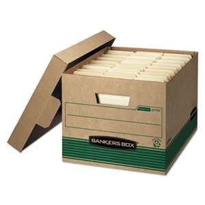 FELLOWES MFG. CO. STOR/FILE Extra Strength Storage Box, Letter/Legal, Kraft/Green, 12/Carton