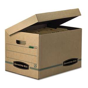 FELLOWES MFG. CO. STOR/FILE Storage Box, Letter/Legal, Attached Lid, Kraft/Green, 12/Carton