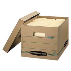 FELLOWES MFG. CO. STOR/FILE Storage Box, Letter/Legal, Lift-off Lid, Kraft/Green, 12/Carton