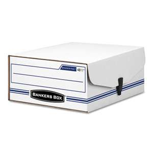 FELLOWES MFG. CO. LIBERTY Binder-Pak Storage Box, Letter, Snap Fastener, White/Blue