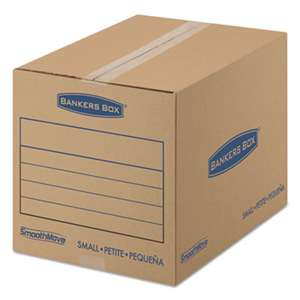 FELLOWES MFG. CO. SmoothMove Basic Small Moving Boxes, 16l x 12w x 12h, Kraft/Blue, 25/BD