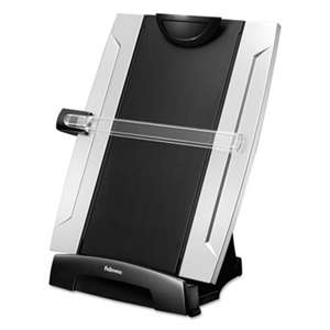 FELLOWES MFG. CO. Office Suites Desktop Copyholder, Plastic, 150 Sheet Capacity, Black/Silver