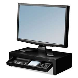 FELLOWES MFG. CO. Adjustable Monitor Riser with Storage Tray, 16 x 9 3/8 x 6, Black Pearl