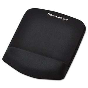 Fellowes 9252001 PlushTouch Mouse Pad with Wrist Rest, Foam, Black, 7 1/4 x 9-3/8