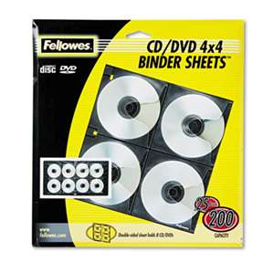 FELLOWES MFG. CO. Two-Sided CD/DVD Refill Sheets for Three-Ring Binder, 25/Pack
