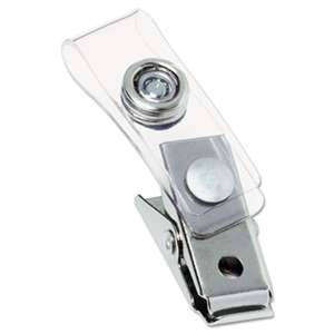 GBC-COMMERCIAL & CONSUMER GRP Metal Badge Clips with Plastic Straps, Silver, 100/Box