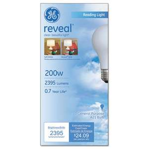 GE 89371 Incandescent Globe Bulbs, 200 Watts