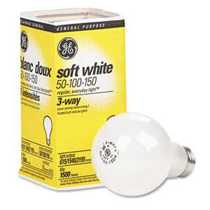 GENERAL ELECTRIC CO. Three-Way Soft White Incandescent Globe Bulb, 50/100/150 Watts
