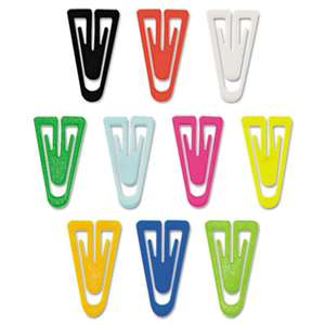"ADVANTUS CORPORATION Paper Clips, Plastic, Large (1-3/8""), Assorted Colors, 200/ Box"