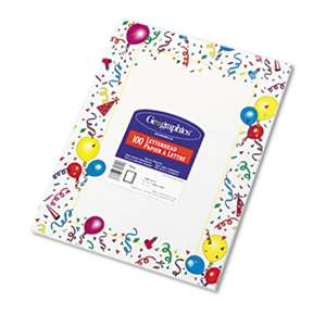 GEOGRAPHICS Design Suite Paper, 24 lbs., Party, 8 1/2 x 11, White, 100/Pack