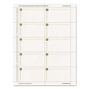 GEOGRAPHICS Capital Gold Design Business Cards, 3 1/2 x 2, 65 lb Stock, Ivory,150/Pack