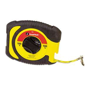 "GREAT NECK SAW MFG. English Rule Measuring Tape, 3/8"" x 100ft, Steel, Yellow"