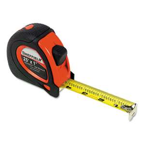 "GREAT NECK SAW MFG. Sheffield ExtraMark Tape Measure, Red with Black Rubber Grip, 1"" x 25 ft"