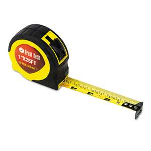 "GREAT NECK SAW MFG. ExtraMark Power Tape, 1"" x 25ft, Steel, Yellow/Black"