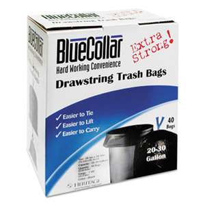 HERITAGE Drawstring Trash Bags, 20-30gal, 1mil, 30 x 34, Black, 40/Box