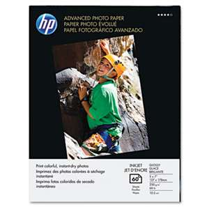 HEWLETT PACKARD COMPANY Advanced Photo Paper, 56 lbs., Glossy, 5 x 7, 60 Sheets/Pack