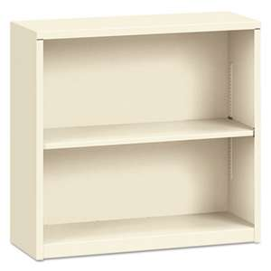 HON COMPANY Metal Bookcase, Two-Shelf, 34-1/2w x 12-5/8d x 29h, Putty