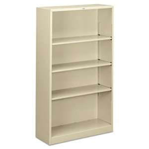 HON COMPANY Metal Bookcase, Four-Shelf, 34-1/2w x 12-5/8d x 59h, Putty