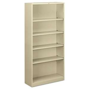 HON COMPANY Metal Bookcase, Five-Shelf, 34-1/2w x 12-5/8d x 71h, Putty