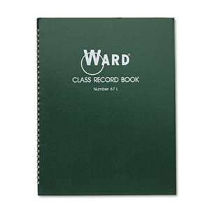 THE HUBBARD COMPANY Class Record Book, 38 Students, 6-7 Week Grading, 11 x 8-1/2, Green