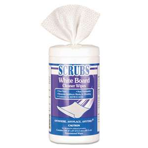 SCRUBS 90891CT White Board Cleaner Wipes, Cloth, 8 x 6, White, 120/Canister