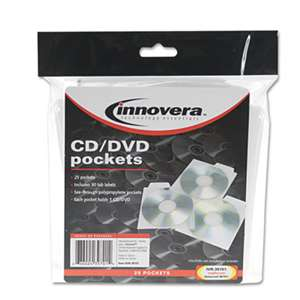 INNOVERA CD/DVD Pockets, 25/Pack