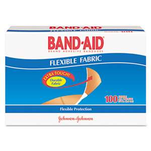 "JOHNSON & JOHNSON Flexible Fabric Premium Adhesive Bandages, 3/4"" x 3"", 100/Box"