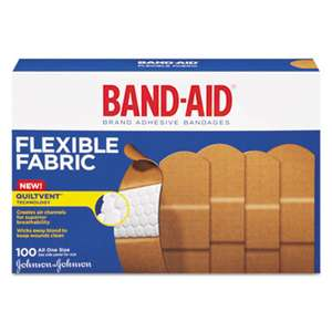 "JOHNSON & JOHNSON Flexible Fabric Adhesive Bandages, 1"" x 3"", 100/Box"