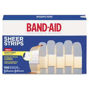 "JOHNSON & JOHNSON Sheer Adhesive Bandages, 3/4"" x 3"", 100/Box"