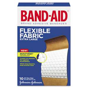 "JOHNSON & JOHNSON Flexible Fabric Extra Large Adhesive Bandages, 1 1/4"" x 4"", 10/Box"
