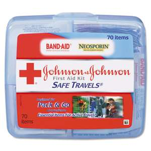 JOHNSON & JOHNSON Portable Travel First Aid Kit, 70-Pieces, Plastic Case