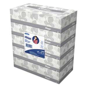 KIMBERLY CLARK White Facial Tissue, 2-Ply, 100 Tissues/Box, 5 Boxes/Pack, 6 Packs/Carton