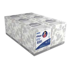 KIMBERLY CLARK White Facial Tissue, 2-Ply, Pop-Up Box, 95/Box, 6 Boxes/Pack