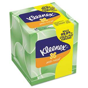 KIMBERLY CLARK Anti-Viral Facial Tissue, 3-Ply, 68 Sheets/Box, 27 Boxes/Carton
