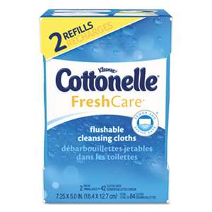 KIMBERLY CLARK Fresh Care Flushable Cleansing Cloths, White, 3.73 x 5.5, 84/Pack