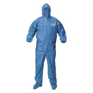KIMBERLY CLARK A60 Blood and Chemical Splash Protection Coveralls, Large, Blue, 24/Carton