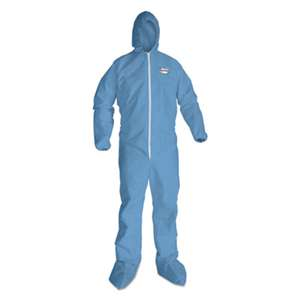KIMBERLY CLARK A65 Hood & Boot Flame-Resistant Coveralls, Blue, 4X-Large, 21/Carton