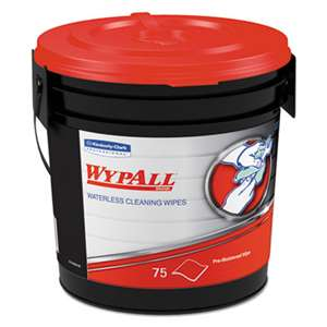 WypAll* 91371EA Waterless Cleaning Wipes, Cloth, 10 1/2 x 12 1/4, 75/Bucket