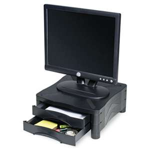 KELLY COMPUTER SUPPLIES Monitor/Printer Stand w/2 Drawers,13 x 13 1/2 x 5 3/4, Black